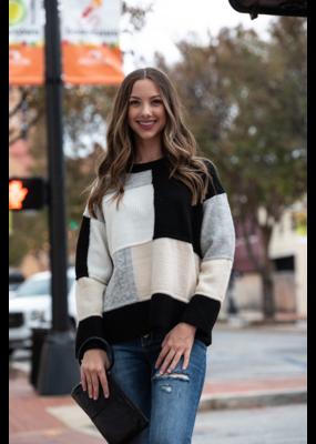 Entro Color Block Round Neck Sweater - Thyra
