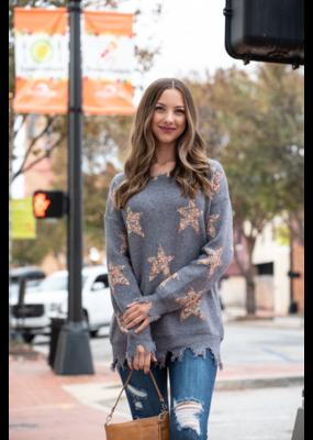 Entro Star Print Scoop Neck Pullover Sweater - Verdia