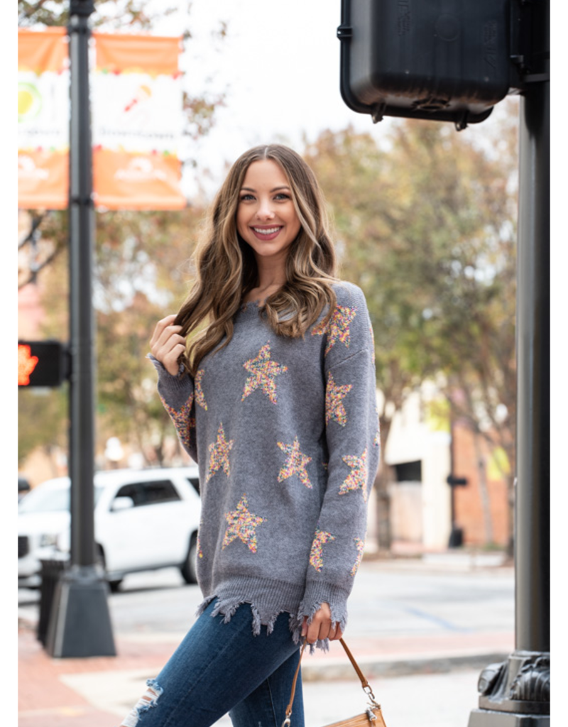 Entro Star Print Scoop Neck Pullover Sweater - Verdia