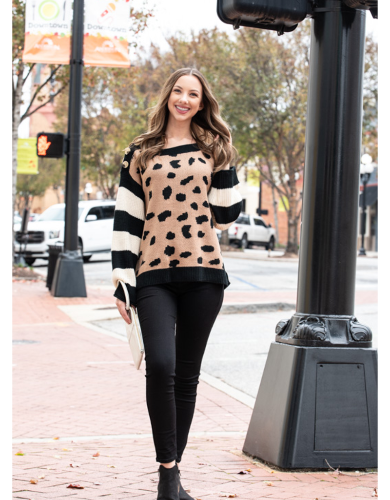 Entro Leopard Pullover Sweater w/ Striped Sleeves - Winona