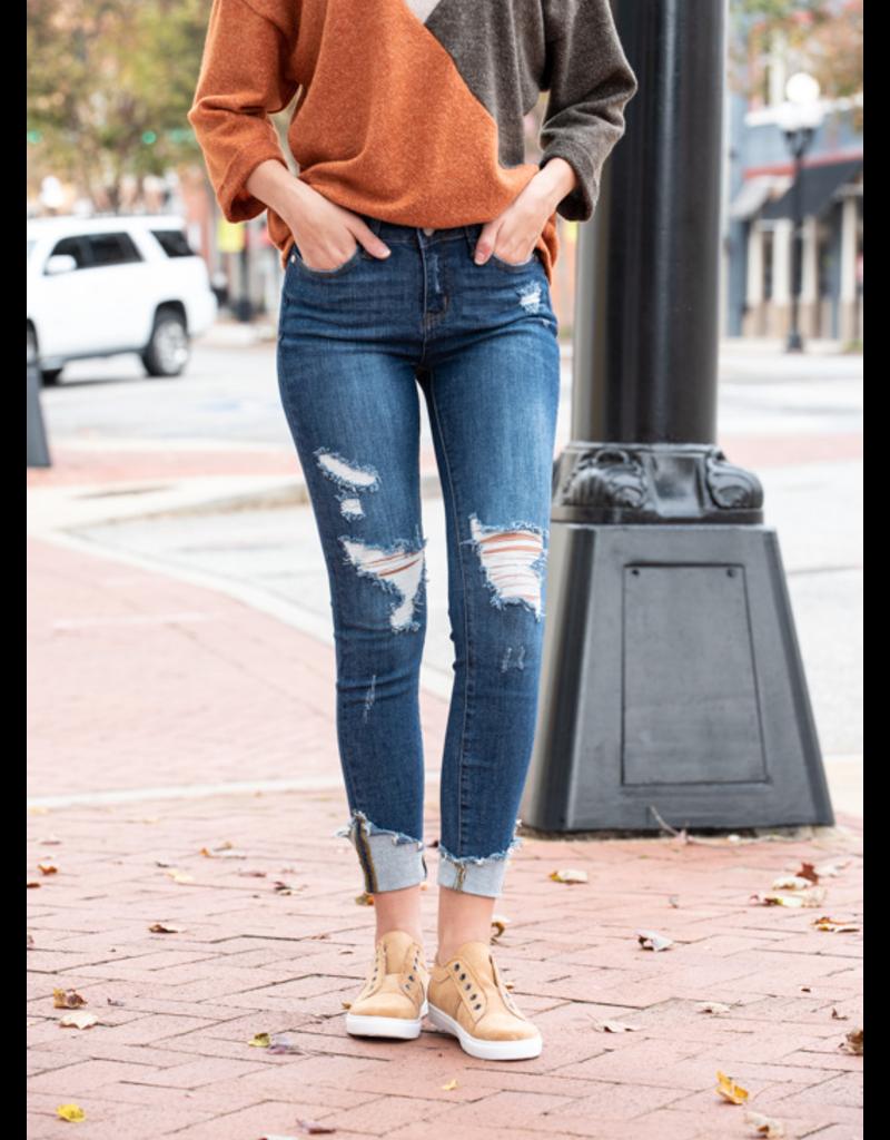 Judy Blue Asymmetrical Cuff Hem Destroy Skinny Jeans - Branson