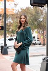 First Love Hunter Green Brushed Mini Dress - Verine