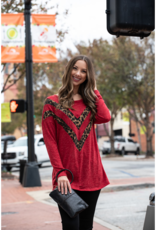 First Love Red Mohair with Leopard Contrast Top - Ximenia