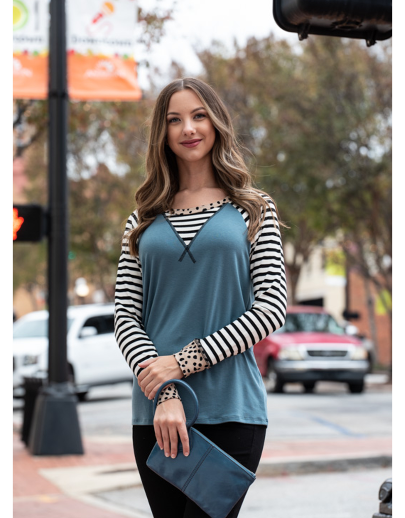 Vanilla Bay Sea Blue Knit Top with Stripe Doritos - Yonnie