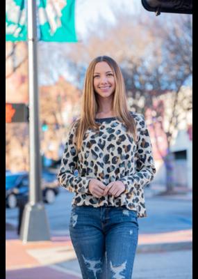 Entro Leopard Print Crop Sweatshirt - Aubrey