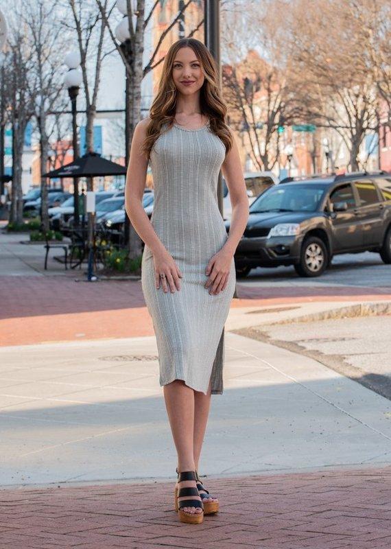 Entro Stiped Racerback Sleeveless Midi Dress - Jessie