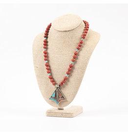 Tibeton Pendant & Spring Coral Necklace
