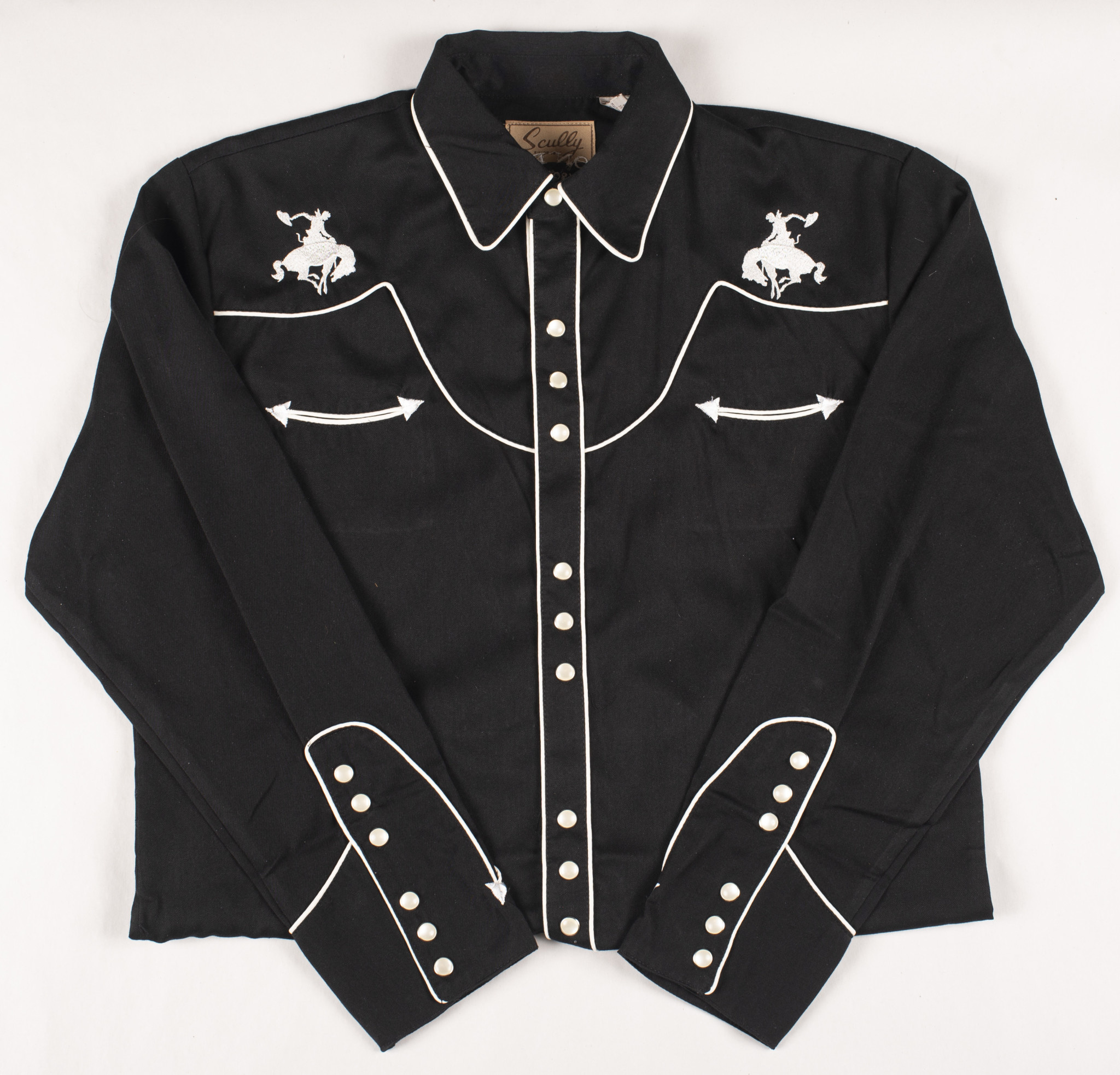 Skully Dress  Shirt with White Piping and Embroidery