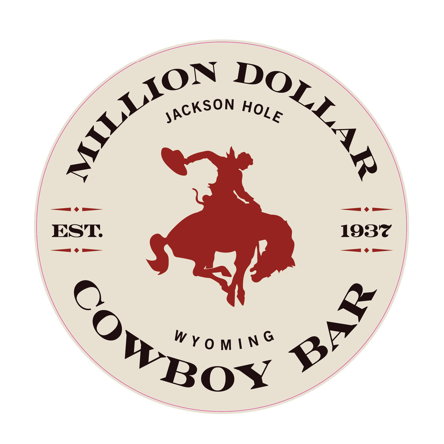 "Cowboy Bar Logo Circle Beige/ Red Sticker 3"""
