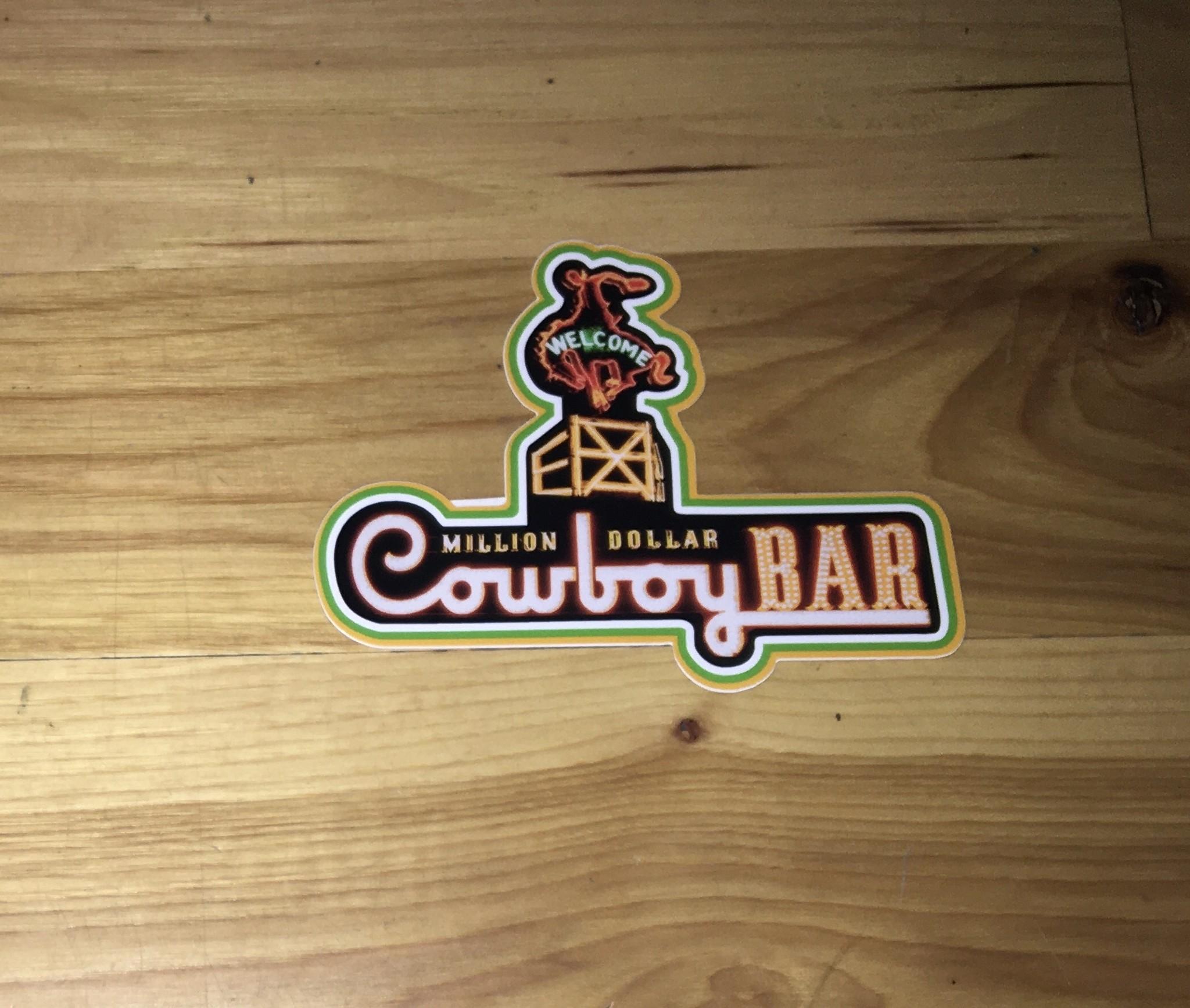 "Cowboy Bar Logo Neon Color Sticker 5"""