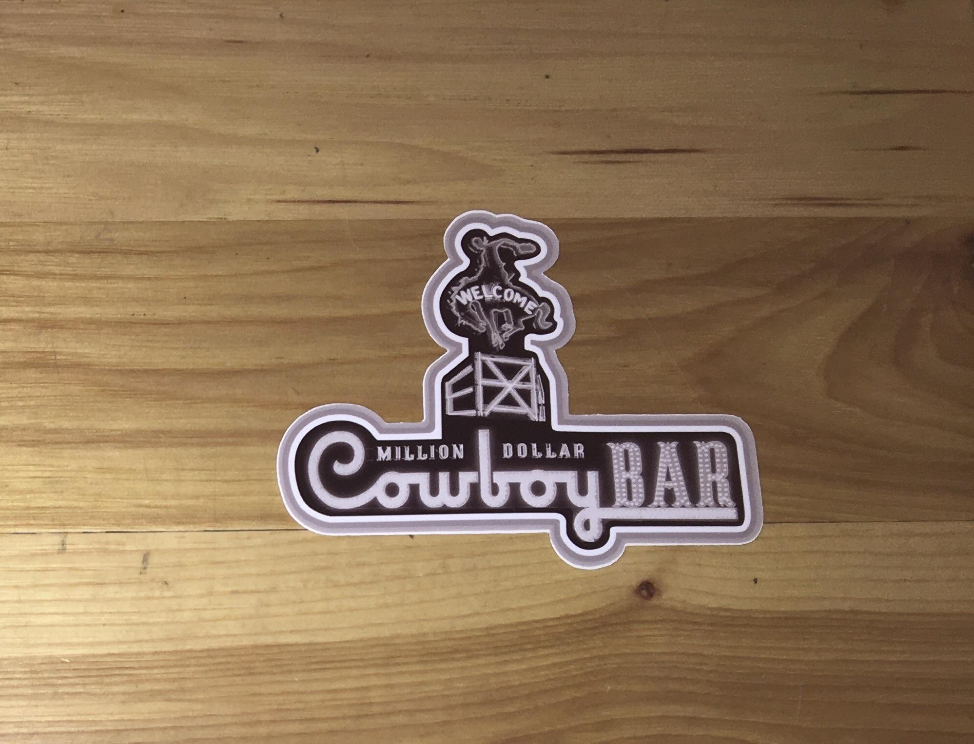"""Cowboy Bar Logo Black/White Neon Sticker 5"""""""