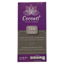Chocolate Oscuro Artesanal con Frutos Secos 72% Cacao Cocoatl 80gr