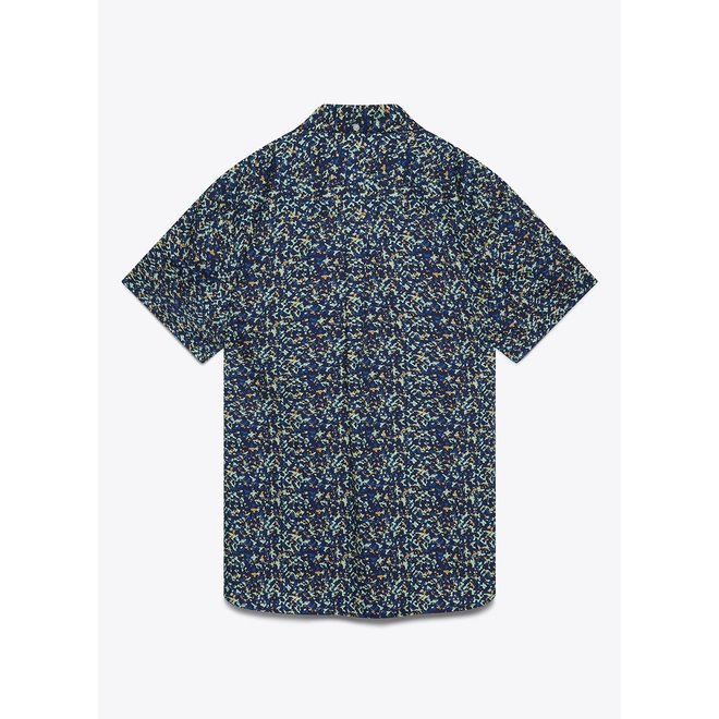 Reeves Print Short Sleeve Shirt in Navy