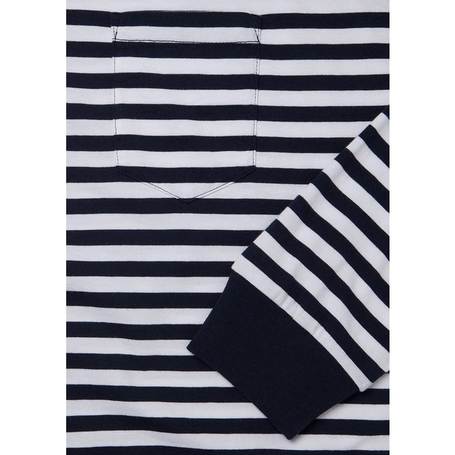 Classic Stripe Long Sleeve T-Shirt in Navy/White