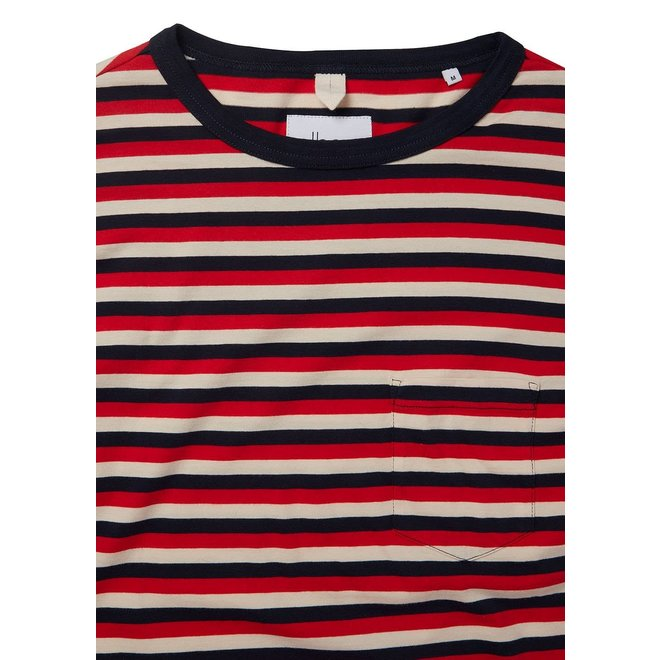 Classic Stripe Long Sleeve T-Shirt in Red/Tan/Navy