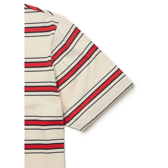 Heritage Stripe Short Sleeve T-Shirt in Red/Tan/Navy