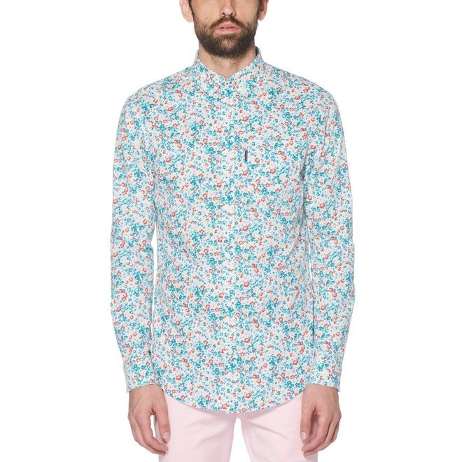 Ditsy Floral Print Shirt in Bright White
