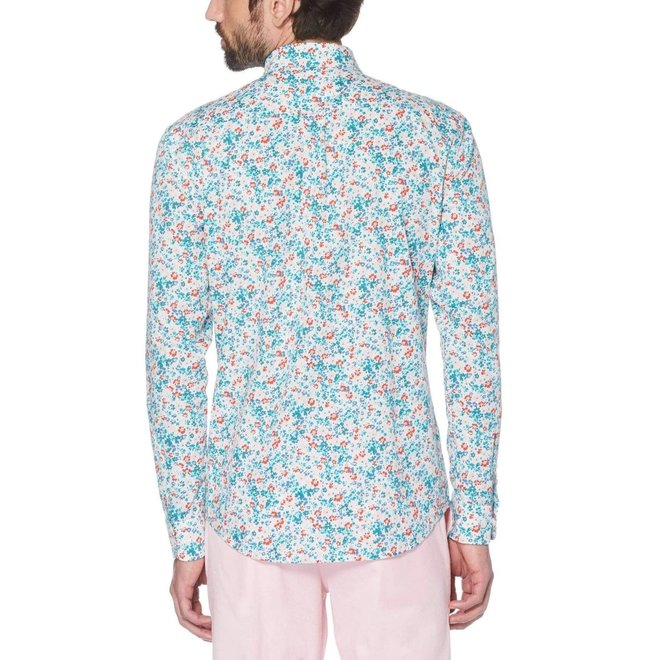 Ditsy Floral Print Long Sleeve Shirt in Bright White