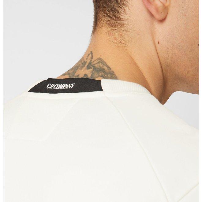 Diagonal Fleece Lens Crew Sweater in Gauze White