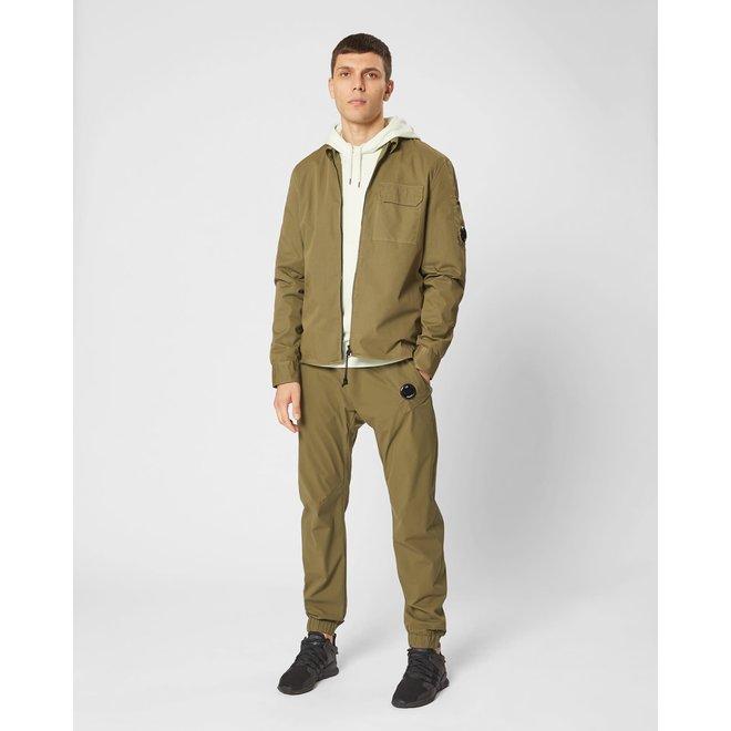Garment Dyed Gabardine Zip-up  Long Sleeve Shirt in Burnt Olive