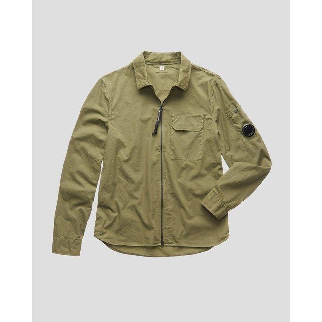 Garment Dyed Gabardine Zip-up Shirt in Burnt Olive
