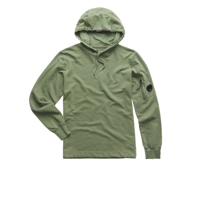 Garment Dyed Light Fleece Hooded Sweatshirt in Deep Lychen Green