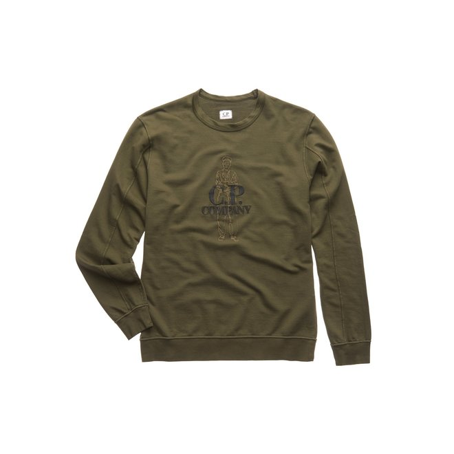 Garment Dyed C.P. Logo Sweatshirt in Forest Night