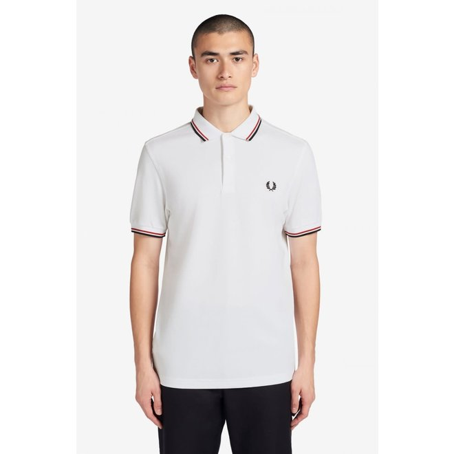 Twin Tipped Fred Perry Shirt in White/Red/Navy
