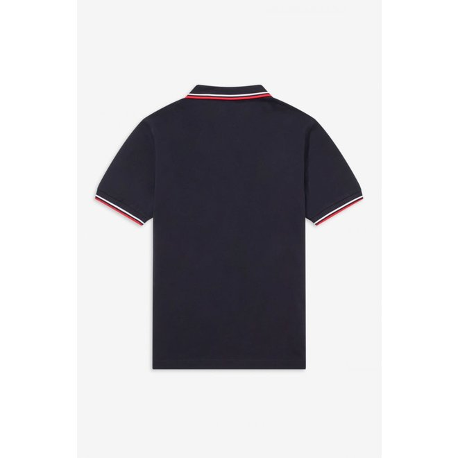 Twin Tipped Fred Perry Shirt in Navy/White/Red