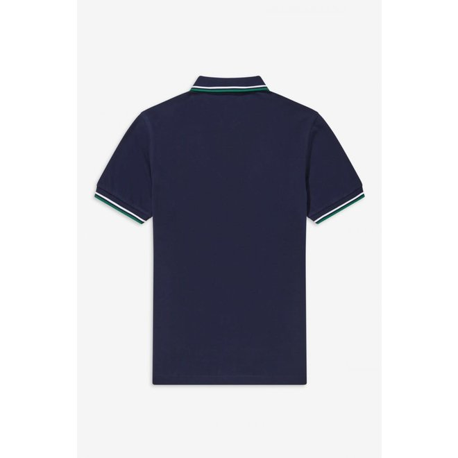 Twin Tipped Fred Perry Shirt in Blue/White/Green