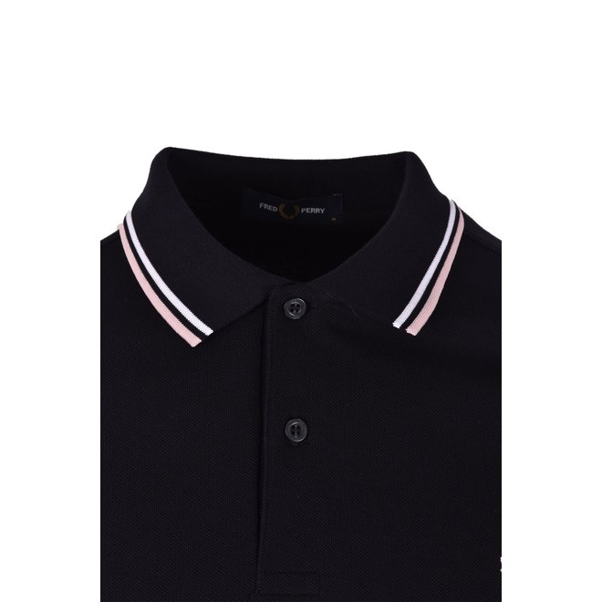 Twin Tipped Fred Perry Shirt in Navy/White/Silver Pink