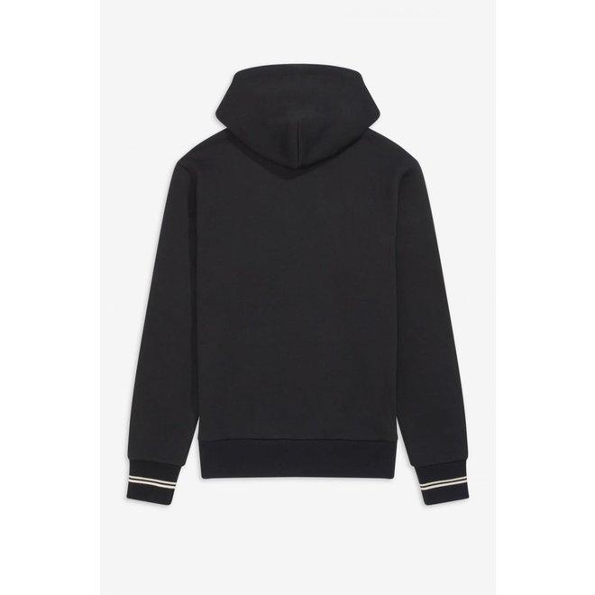 Hooded Zip Through Sweatshirt in Black