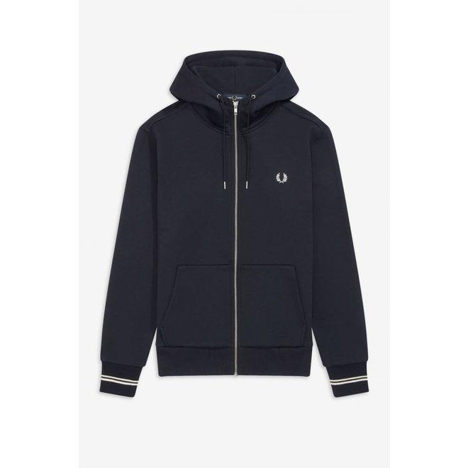 Hooded Zip Through Sweatshirt in Navy