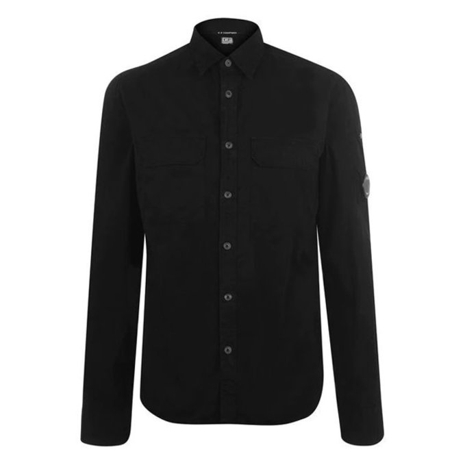 Garment Dyed Gabardine Button-up Shirt in Total Eclipse