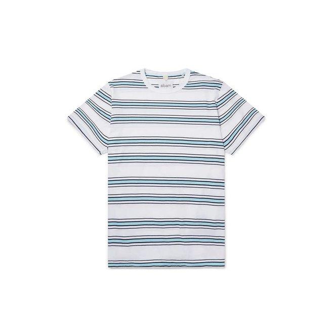 Heritage Stripe Short Sleeve T-Shirt in White/Light Blue/Navy