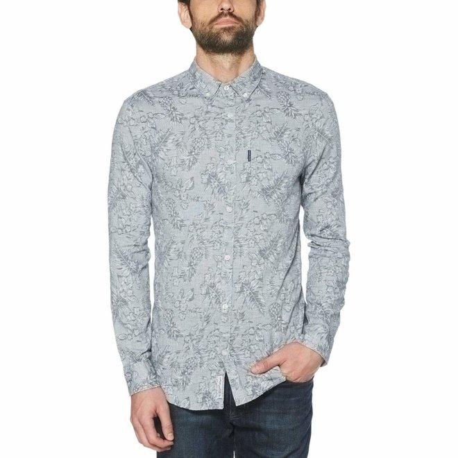 Tropical Chambray Linen Blend Shirt in Dark Sapphire