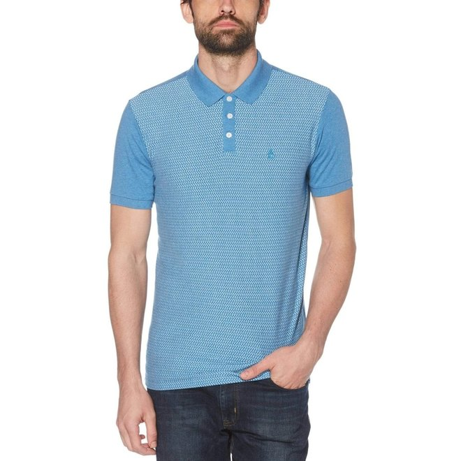 Jacquard Front Polo in Deep Water