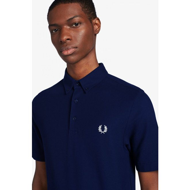 Button Down Polo in Carbon Blue