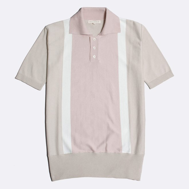 Cole Trio Polo Shirt in Pumice Stone/Snow White/Rose Dust