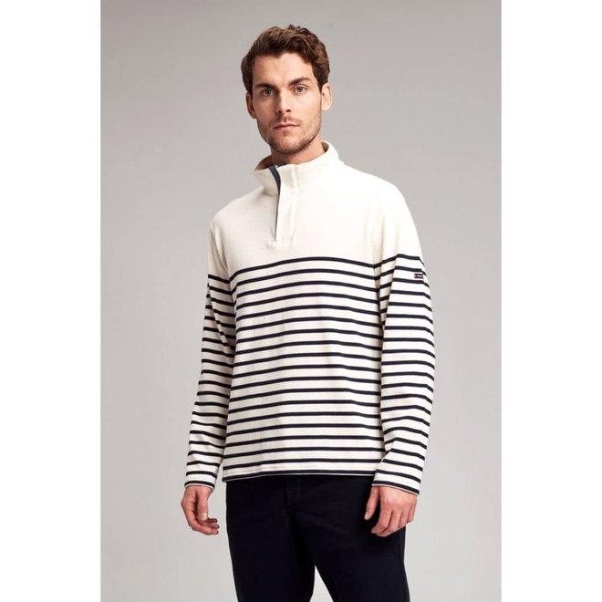 Paulo Striped Sweater in Ecru/Navy