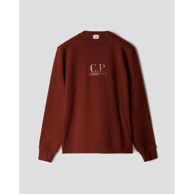 Diagonal Raised Fleece Chest Logo Sweat in Cinnamon