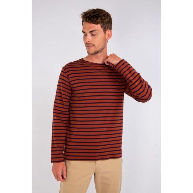 "Breton Heritage ""Houat"" Shirt in Dark Orange/Navy"