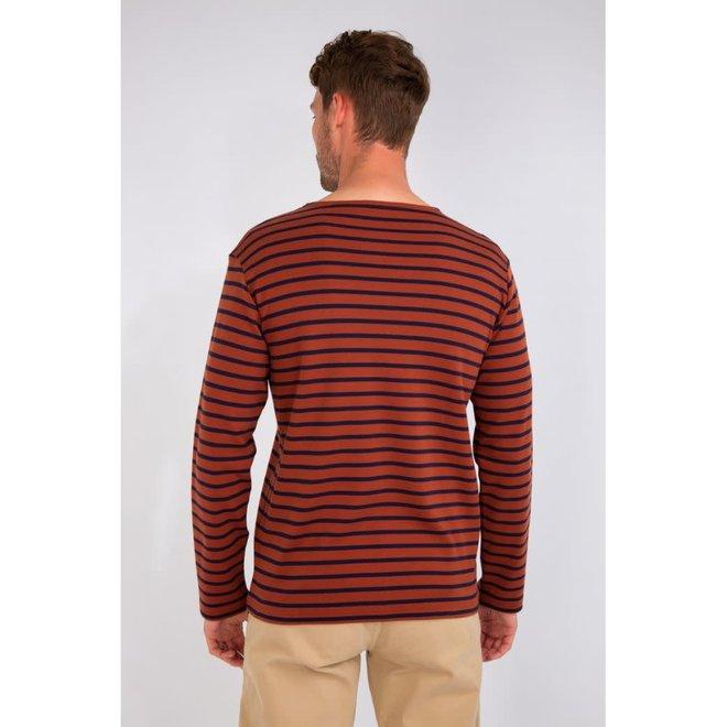 Breton Heritage Striped Thick Cotton Shirt in Dark Orange/Navy