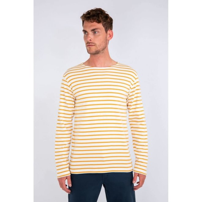 Breton Heritage Striped Thick Cotton Shirt in Milk/Quartz