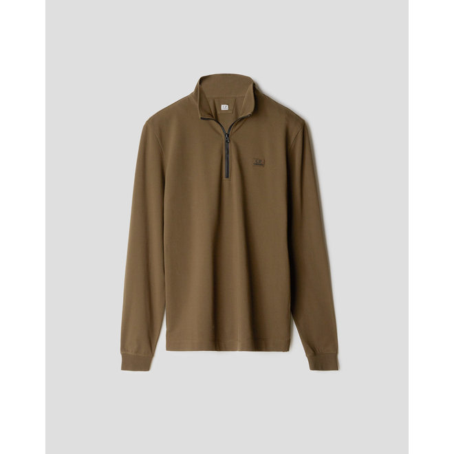 Stretch Pique Quarter Zip Long Sleeve Polo in Ivy Green