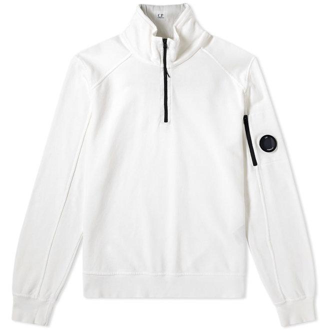 Garment Dyed Light Fleece Quarter Zip Lens Sweat in Gauze White