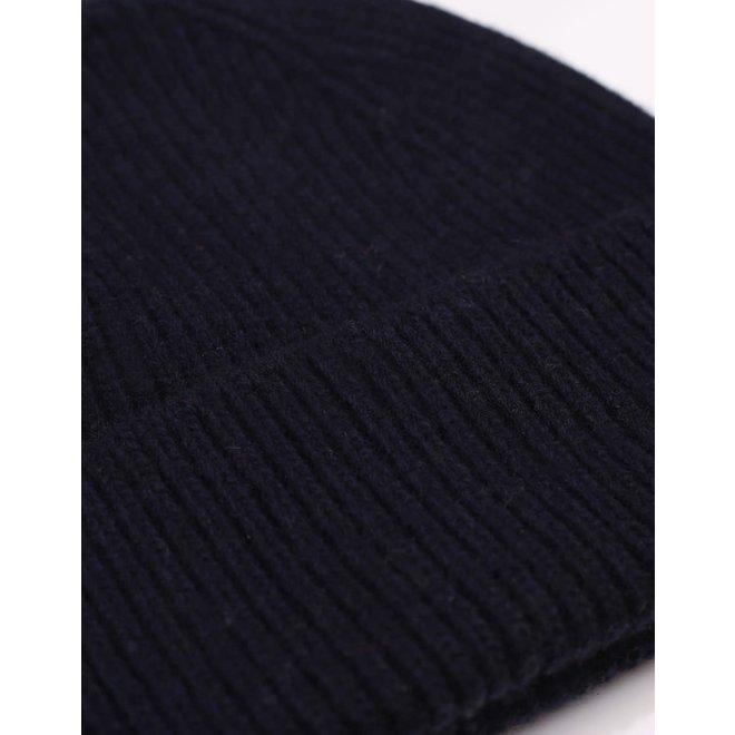 Merino Wool Beanie in Navy Blue