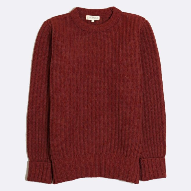 Tanner Ribbed Knit Jumper in Maroon