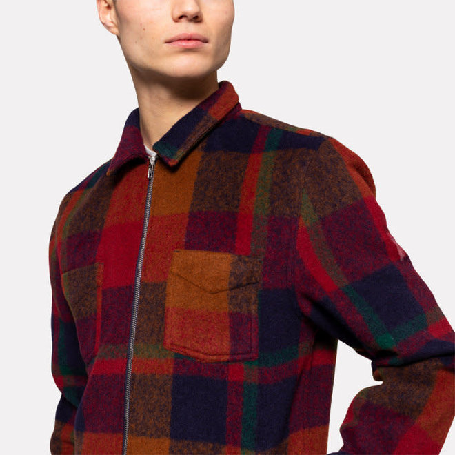 Flannel Zipped Overshirt in Orange