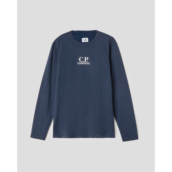 Garment Dyed Brushed Jersey Long Sleeve Logo T-Shirt in Total Eclipse
